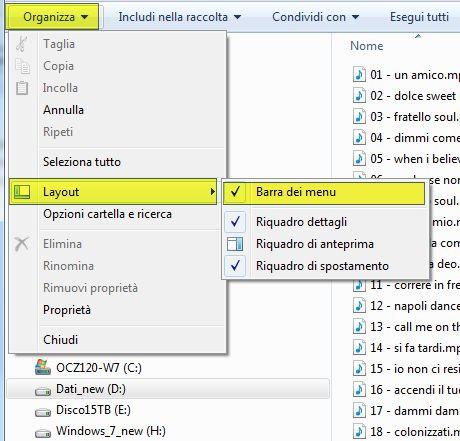 Windows Layout visualizza menu